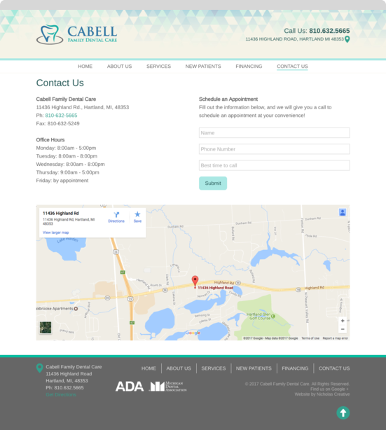Cabell Family Dental Care Page